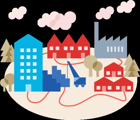ogrevanje za dom, zunanje površine, gradbišča in industrijo